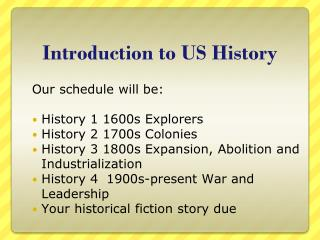 Introduction to US History
