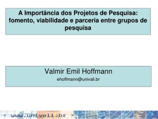 A Importância dos Projetos de Pesquisa: fomento, viabilidade e parceria entre grupos de pesquisa