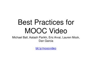 Best Practices for MOOC Video