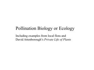 Pollination Biology or Ecology