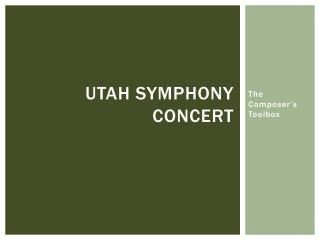 Utah Symphony Concert