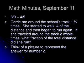 Math Minutes, September 11