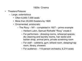 1920s- Cinema