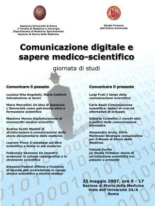 Comunicazione digitale e sapere medico-scientifico giornata di studi