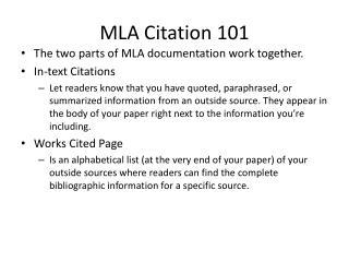 MLA Citation 101