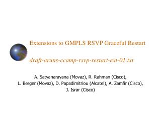 Extensions to GMPLS RSVP Graceful Restart draft-aruns-ccamp-rsvp-restart-ext-01.txt