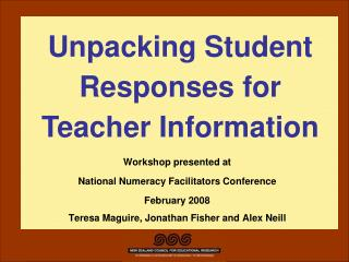 Workshop presented at National Numeracy Facilitators Conference February 2008