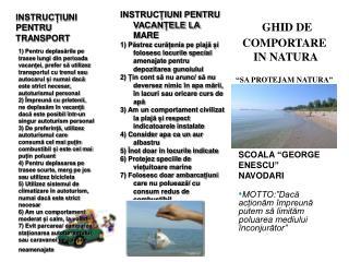 """GHID DE COMPORTARE  IN NATURA """" SA PROTEJAM NATURA """""""