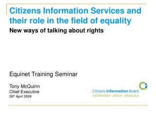 Citizens Information Services and their role in the field of equality
