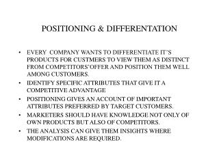 POSITIONING & DIFFERENTATION