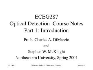 ECEG287   Optical Detection  Course Notes Part 1: Introduction