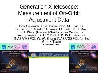 Generation-X telescope: Measurement of On-Orbit Adjustment Data