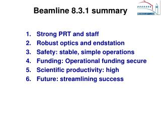 Beamline 8.3.1 summary
