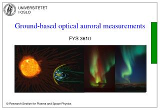 Ground-based optical auroral measurements