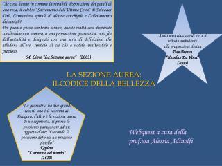 LA SEZIONE AUREA: ILCODICE DELLA BELLEZZA