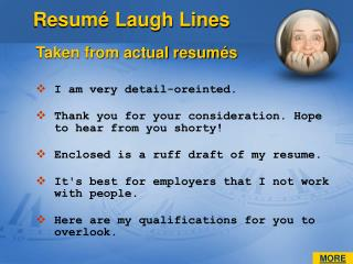 Resumé Laugh Lines