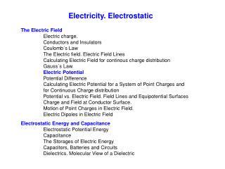 Electricity. Electrostatic