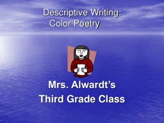 Descriptive Writing:  Color Poetry