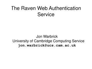 The Raven Web Authentication Service
