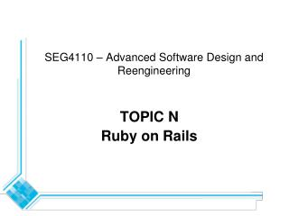 SEG4110 – Advanced Software Design and Reengineering
