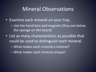 Mineral Observations