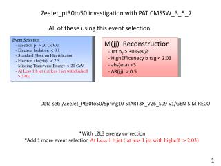 ZeeJet_pt30to50 investigation with PAT CMSSW_3_5_7
