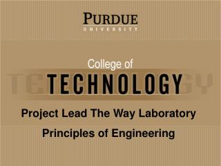 Project Lead The Way Laboratory Principles of Engineering