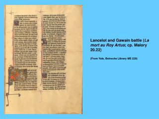 Lancelot and Gawain battle ( La mort au Roy Artus ; cp. Malory 20.22)