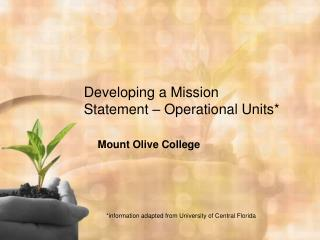 Developing a Mission Statement – Operational Units*