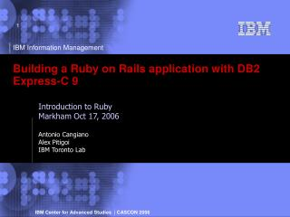 Building a Ruby on Rails application with DB2 Express-C 9