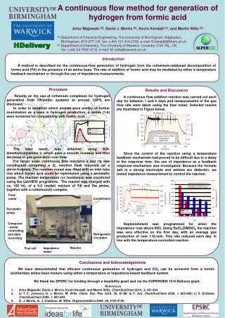A continuous flow method for generation of hydrogen from formic acid