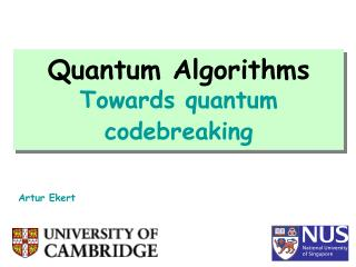 Quantum Algorithms Towards quantum codebreaking