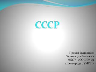 Проект выполнил: Ученик 9- «Г» класса МБОУ- «СОШ № 49  г. Белгорода с УИОП»