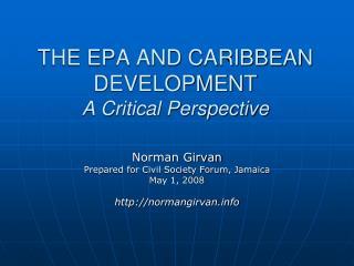 THE EPA AND CARIBBEAN DEVELOPMENT