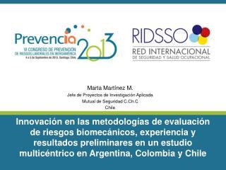Marta Martínez M. Jefe de Proyectos de Investigación Aplicada Mutual de Seguridad C.Ch.C Chile