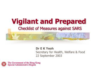 Vigilant and Prepared Check list of Measures against SARS