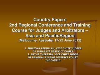 1. SUWIDYA ABDULLAH, VICE CHIEF JUDGES OF SURABAYA DISTRICT COURT