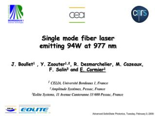Single mode fiber laser  emitting 94W at 977 nm