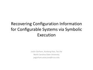 Recovering Configuration Information for Configurable Systems via Symbolic Execution