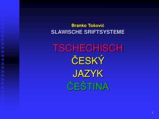 Branko To šović SLAWISCHE  SRIFT SYSTEME TSCHECHISCH ČESK Ý J A Z Y K ČEŠTINA