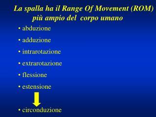La spalla ha il Range Of Movement (ROM)  più ampio del  corpo umano