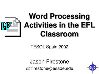 Word Processing Activities in the EFL Classroom