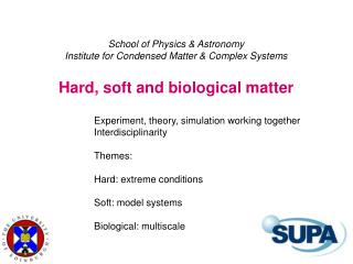 School of Physics & Astronomy Institute for Condensed Matter & Complex Systems