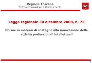 Regione Toscana Settore Formazione e Orientamento