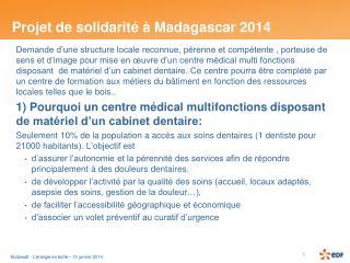 Projet de solidarité à Madagascar 2014