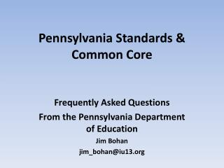 Pennsylvania Standards & Common Core