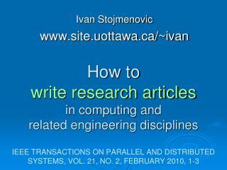 Ivan Stojmenovic site.uottawa/~ivan