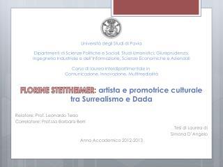 FLORINE STETTHEIMER :  artista e promotrice culturale tra Surrealismo e Dada