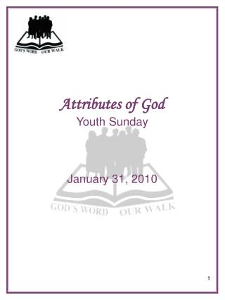 Attributes of God Youth Sunday