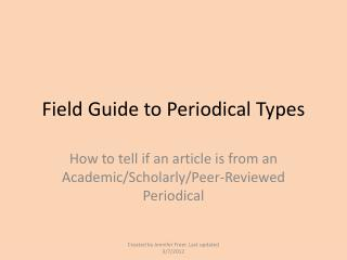 Field Guide to Periodical Types